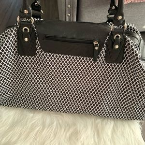Large Black And White Overnight Bag